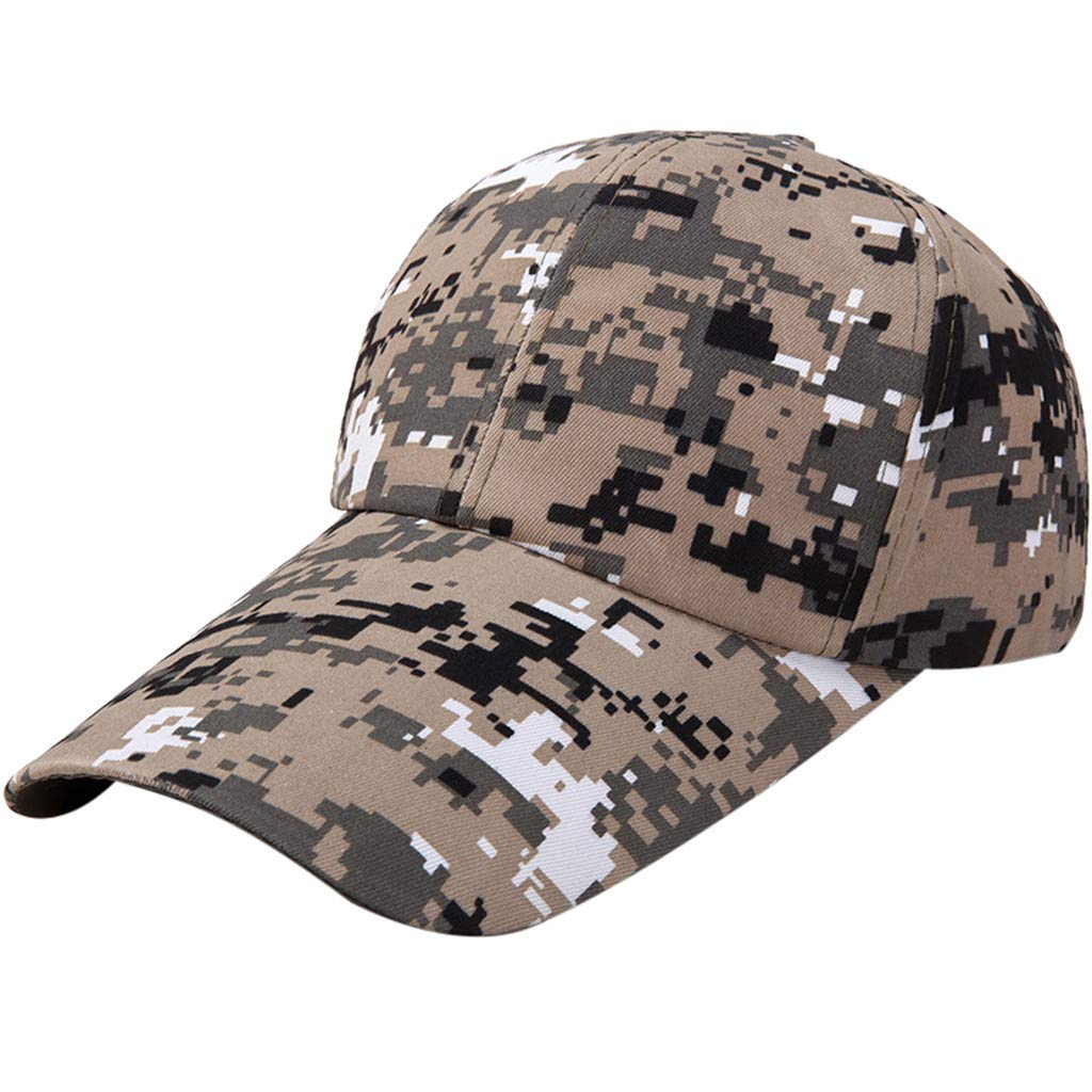 Quaanti Camouflage Baseball Cap Men Special Tactical Baseball Hat Boys Snapback Trucker Cap Classic Plain Work Sports Caps (C)