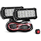 Nilight 2PCS 6.5 Inch 36W Flood LED Light Bar Led Work Light Off Road Driving Light With Off Road Wiring Harness , 2 Years Warranty