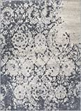 Forte Grey Microfiber High-Low Pile Vintage Abstract Erased Floral 8x10 (7'10'' x 9'10'') Area Rug Modern Oriental Carpet