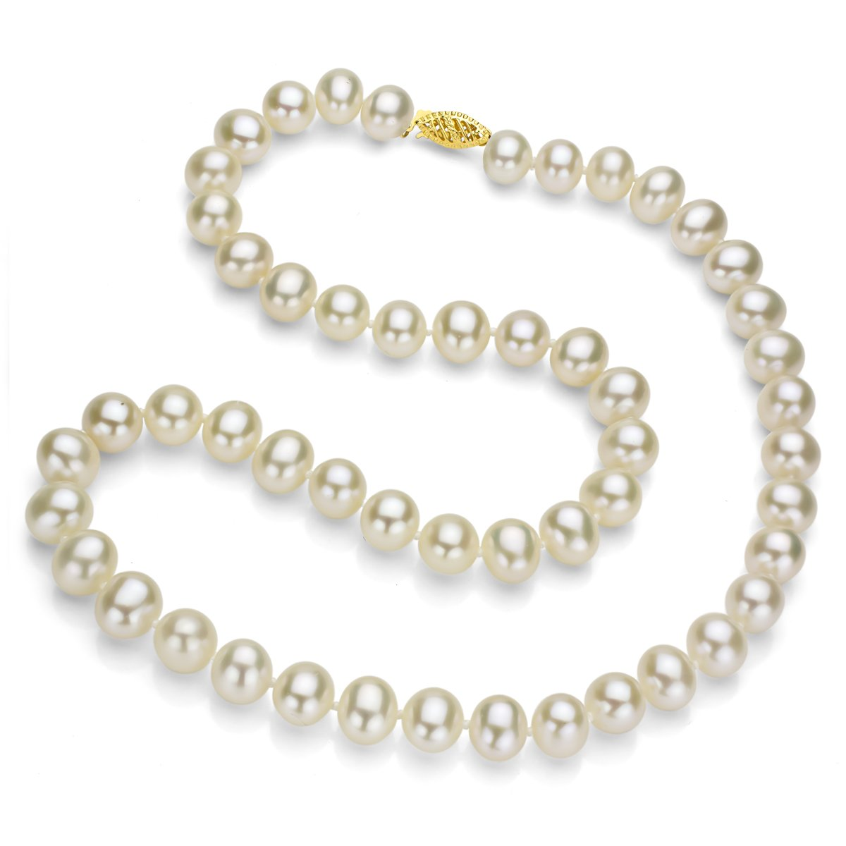 14k Yellow Gold 5.5-6mm White Freshwater Cultured High Luster Pearl Choker Necklace, 16''