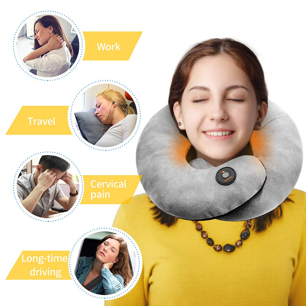 Heated Travel Neck Pillow Airplane Pillow - Supports The Head, Neck and Chin in Any Sitting Position (Grey)