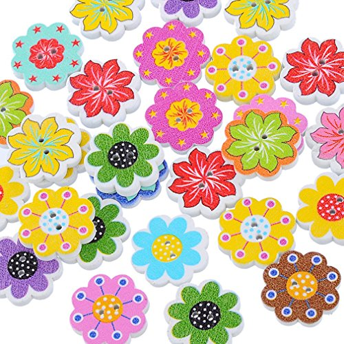 Souarts Mixed Flower Shape 2 Holes Wood Wooden Buttons Pack of 50pcs