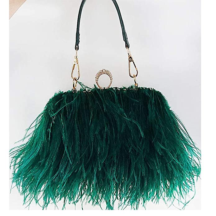 4d8ea780738b Flada Women s Faux Fluffy Feather Round Clutch Shoulder Bag Apricot   Handbags  Amazon.com