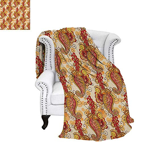 """Asian Summer Quilt Comforter Traditional Asian Paisley in Colors Floral Ornamental Religious Cultural Art Warm Microfiber All Season Blanket for Bed or Couch 60""""x50"""" Orange Yellow Red"""