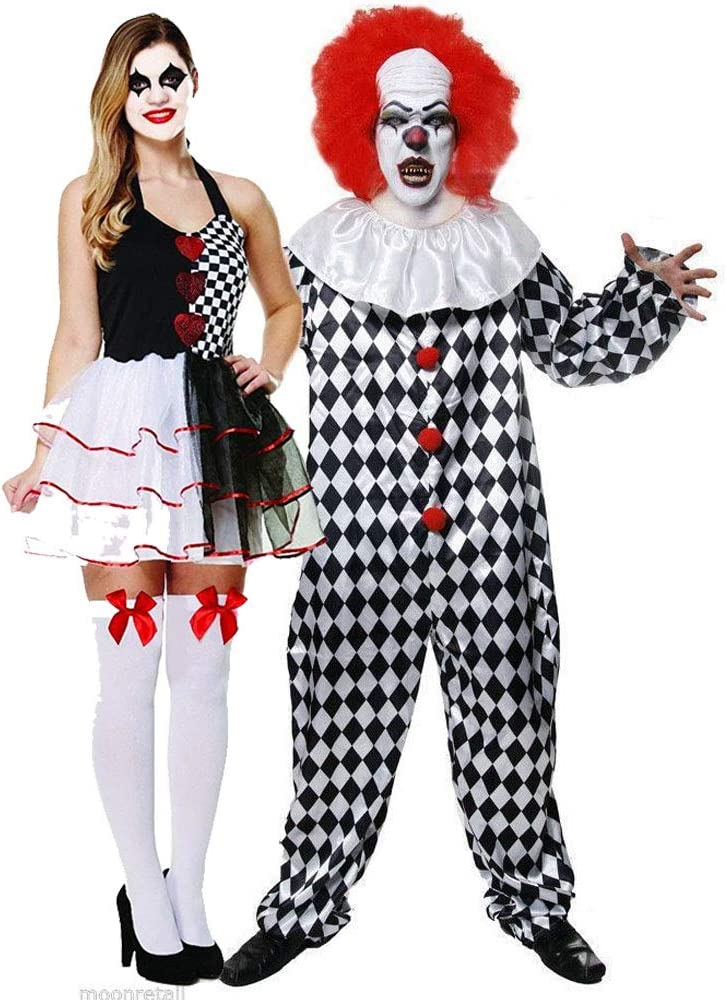 Scary Evil Harlequin Clown Costumes for Couple