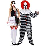 275f022c3c348 Deluxe Jester Evil with Scary Evil Clown Costume Halloween Fancy Dress  Outfit Adult Mens Womens Couple