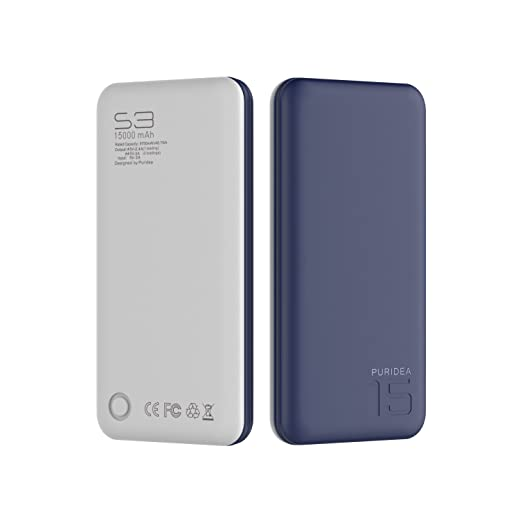 15000 mAh Power Bank, Puridea S3 Series Dual USB portatile caricabatterie batteria di backup esterna per Apple iPhone 4 5 6 Plus Samsung HTC, Nokia, LG, Sony, Blackberry, blu