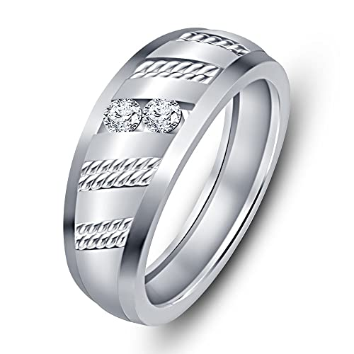 Fashion Vorra Forever White bañada en platino con 925 plata circonitas redondas piedra dos anillos de