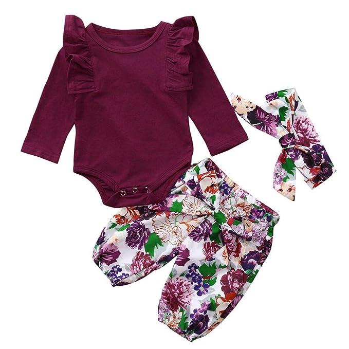 8b73bc818 Ropa Bebe Niña Invierno Otoño Fossen Recién Nacido Niña Bebé Camiseta y  Pantalones de Flores y