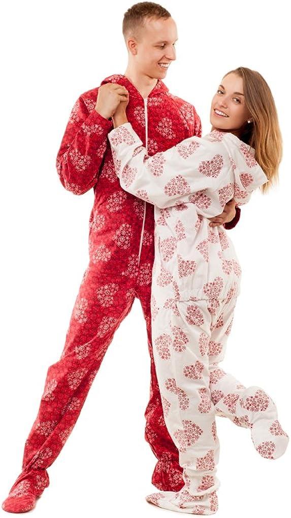 Kajamaz Pijama Entero con pies para Adultos Corazones Copo de Nieve Pijama Entero con pies para Adultos de Franela (Blanco & Rojo)