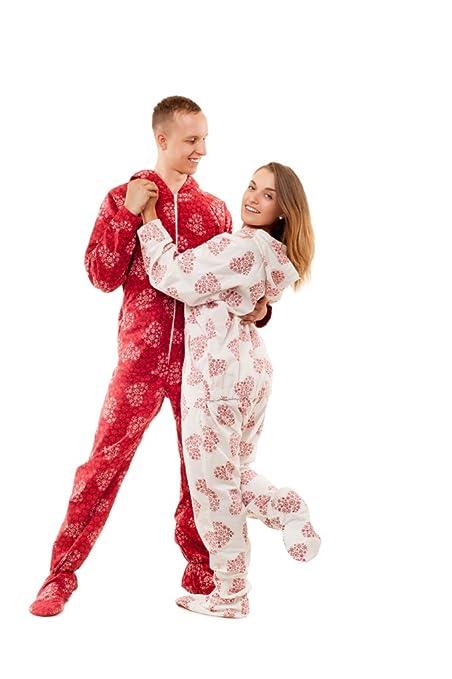 Pijama entero con pies para adultos Corazones copo de Nieve Kajamaz: Pijama entero con pies para adultos de franela (Blanco & Rojo) (XL, Blanco): Amazon.es: ...