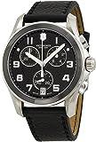 Swiss Army Homme Bracelet Cuir Boitier Acier Inoxydable Quartz Cadran Noir Chronographe Montre 241545