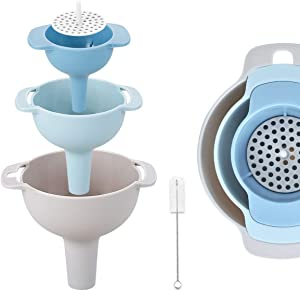 Funnel Set of 3, Kitchen Funnel with Strainer Filter, Small/Medium/Large Funnel for Filling Bottles with Oil, Liquid, Food, Powder, Bonus a Cleaning Brush (4 in 1)