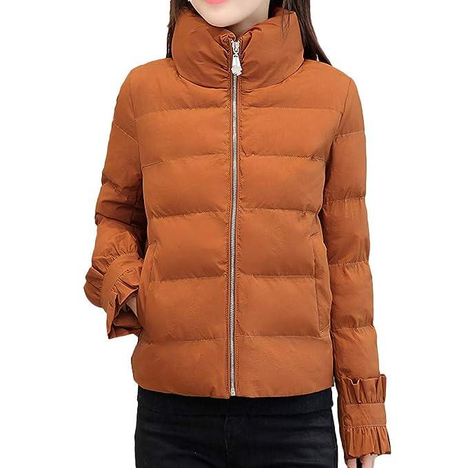 BBestseller Mujeres de Invierno Moda Caliente Chaqueta de Manga Larga algodón Abrigo con Cremallera y Bolsillo