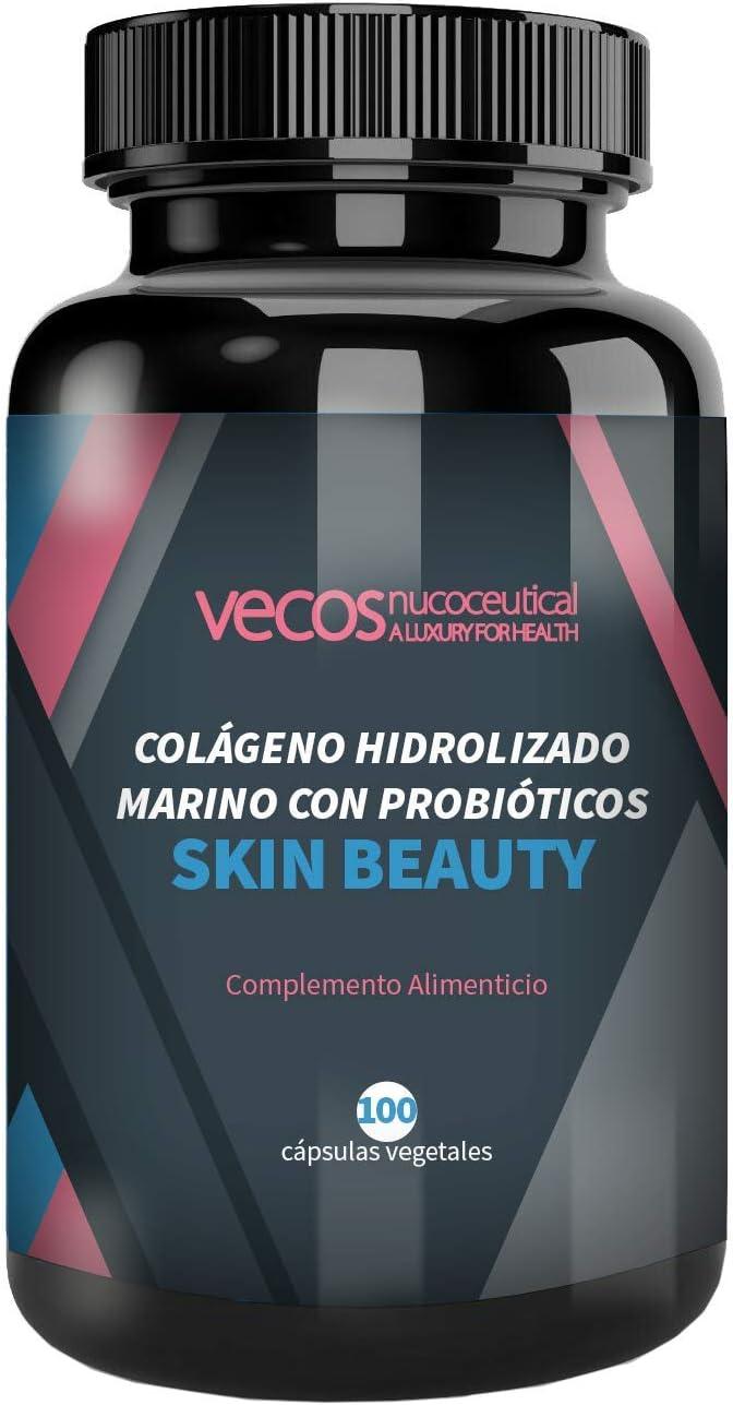 Vecos Skin Beauty - Elasticidad, luminosidad e hidratación para la piel – Colágeno hidrolizado marino con elastina y probióticos específicos para la ...