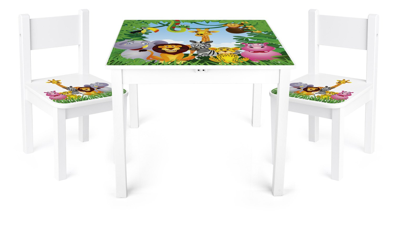 Children's Kids Toy Wooden Table and 2 Chairs Set by Leomark High Quality Motif: Jungle Animals