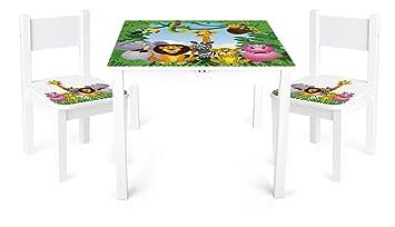 Table Et 2 Chaises Enfant Motif Animaux Chambre Meuble Mobilier Chaise DEnfant