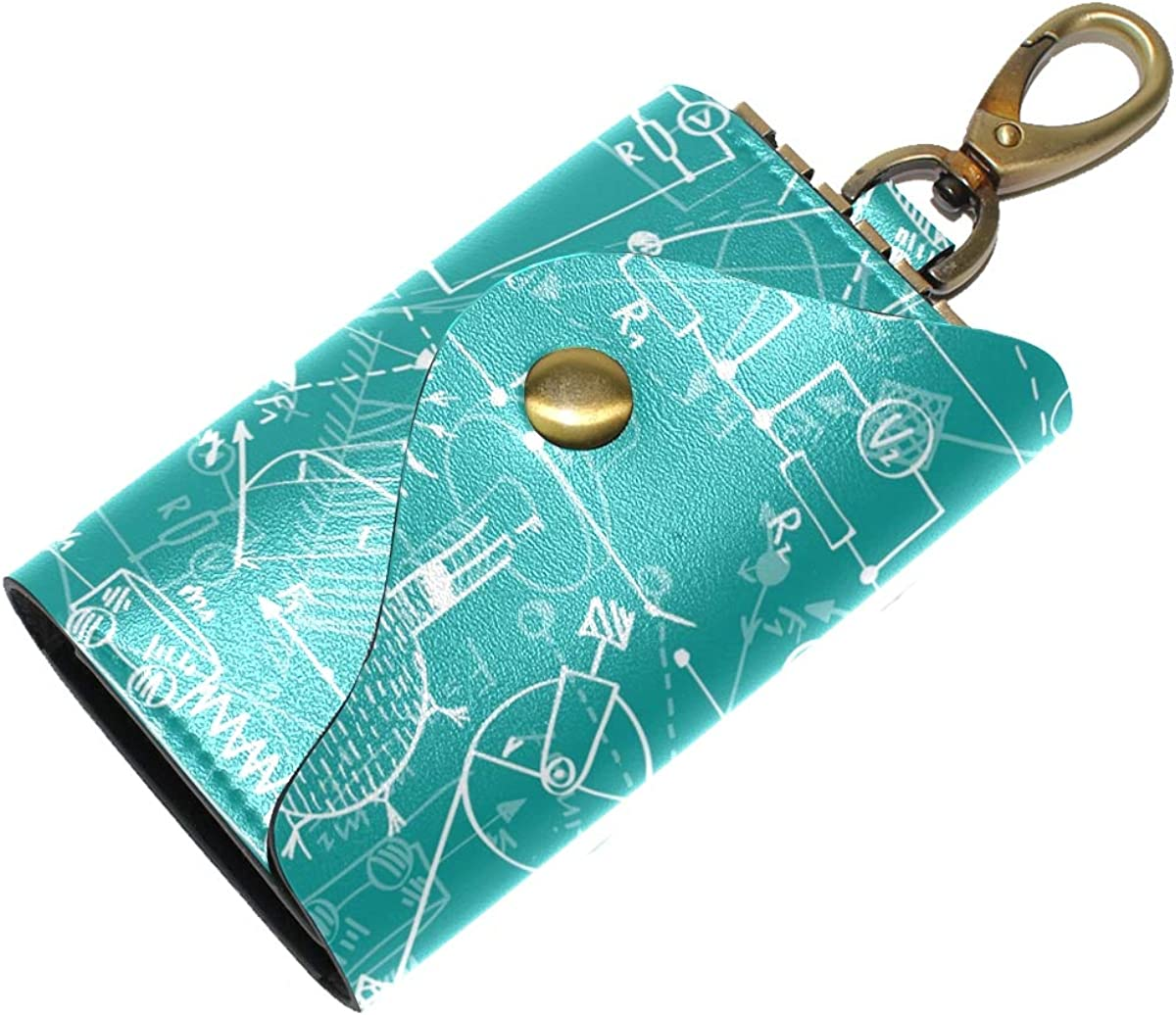KEAKIA Physics Pattern Greenblue Leather Key Case Wallets Tri-fold Key Holder Keychains with 6 Hooks 2 Slot Snap Closure for Men Women