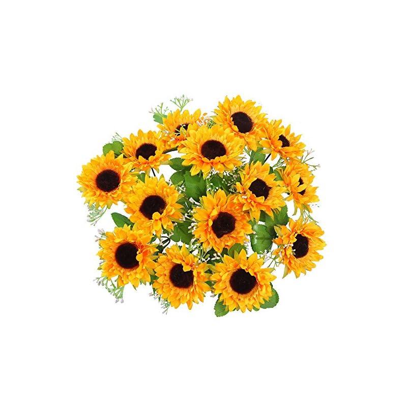 silk flower arrangements amyhomie artificial flowers, silk sunflowers, 2 bunches/pack artificial sunflowers (14 sunflowers included)