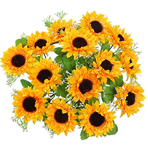 AmyHomie Artificial Flowers, Silk Sunflowers, 2 bunches/Pack Artificial - Bouquet Sunflower Daisy