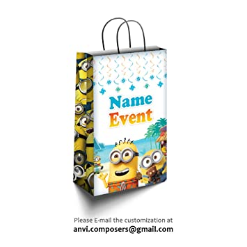 Personalised Minions Theme Paper Bags Return Gift Party Decorations Supplies For Birthday