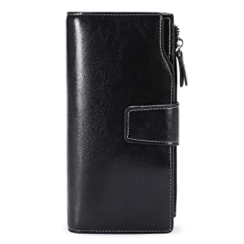d2bb750e3064 SENDEFN Women RFID Blocking Wallet Large Capacity Luxury Genuine Leather  Womens Purses with Zipper Pocket and