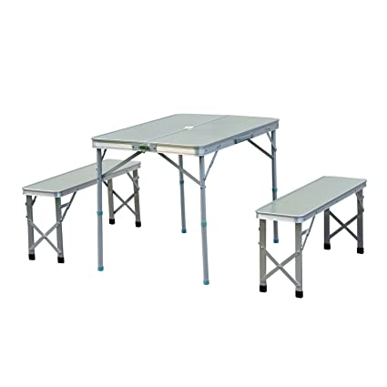 4b23b99b66 Outsunny Adjustable Folding Picnic Table Seating Set Portable Camping  Garden Chair with 4 Seats W/Umbrella Hole