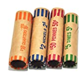 L LIKED 128 Assorted Coin Preformed Wrappers Rolls - Quarters, Pennies, Nickels and Dimes (128 Assorted)