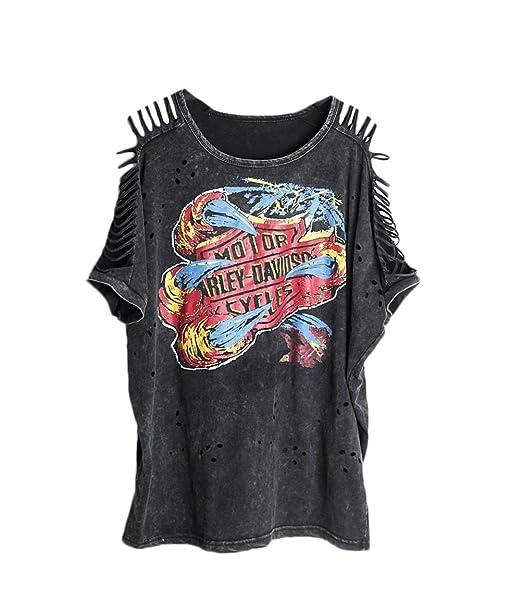 Shirt Damen mit Aufdruck Kurzarm Rundhals Schulterfrei Locker Vintage  Hippie Mode Hip Hop Punk Joker T ffeae8881a