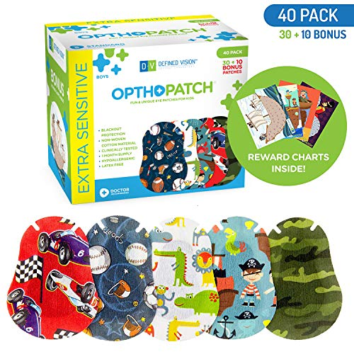 Optho-Patch Kids Eye Patches - Fun Boys Design - 30 + 10 Bonus Latex Free Hypoallergenic Cotton Adhesive Bandages for Amblyopia and Cross Eye - Reward Chart Poster by Defined Vision from Optho-Patch
