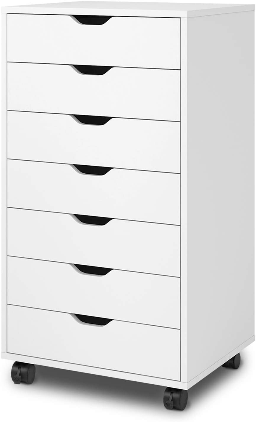 DEVAISE Mobile Narrow Chest of 7 Drawers, Wood Dresser Storage Cabinet for Home & Office & Bedroom & Hallway, White