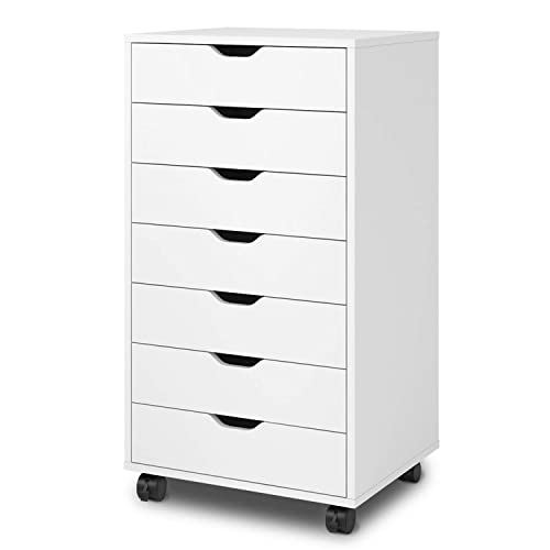 DEVAISE 7-Drawer Chest, Wood Storage Dresser Cabinet with Wheels, White