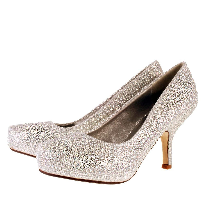 Ladies TRUFFLE Silver Diamante Sparkle Kitten Heel Evening Bridal ...
