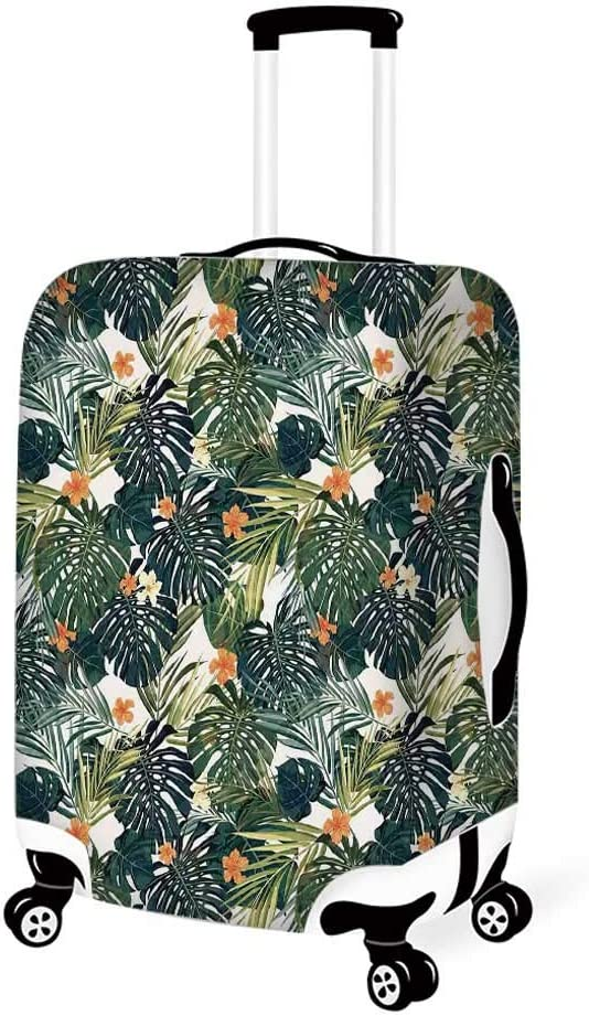 Floral Stylish Luggage Cover,Wild Tropical Orchid Flower with Large Leaves Exotic Tropic Petals Picture for Luggage,L 26.3W x 30.7H