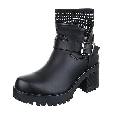 Damen Schuhe Stiefeletten Stiefel Strass Besetzte Schwarz 41 oaha07