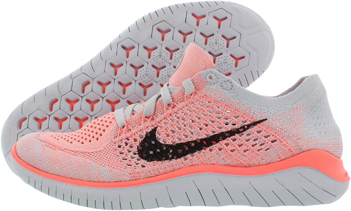 Nike Womens Free Rn Flyknit 2018 Low Top Lace Up Running, Size 7.5 M US, Crimson Pulse Black