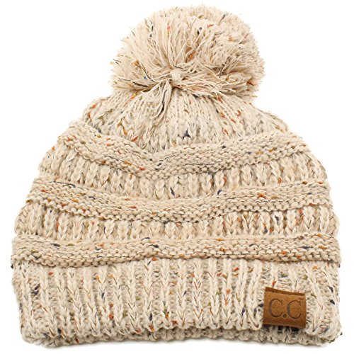 Confetti Ombre Big Pom Pom Warm Chunky Soft Stretch Knit Beanie Hat Oatmeal