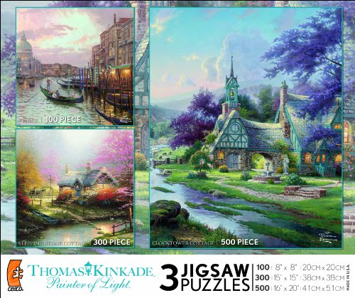 Ceaco Thomas Kinkade 3 in 1 Multi-Pack-Venice, Stepping Stone Cottage, Clocktower Cottage