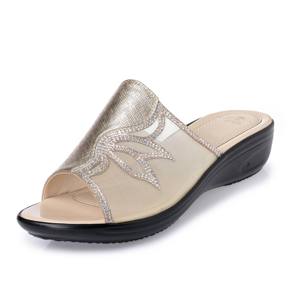 Btrada Women's Comfortable Wedge Sandals Summer Anti-Slip Thick Bottom Slide Shoes B07BQSSK13 6 B(M) US|Golden