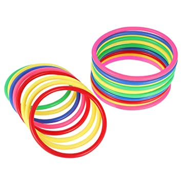 Party Favor Games Quoits Ring Toss Game 5 Sizes Multicolor Hysagtek 21 Pcs Plastic Toss Rings Carnival Rings for Kids Fun Target Toys