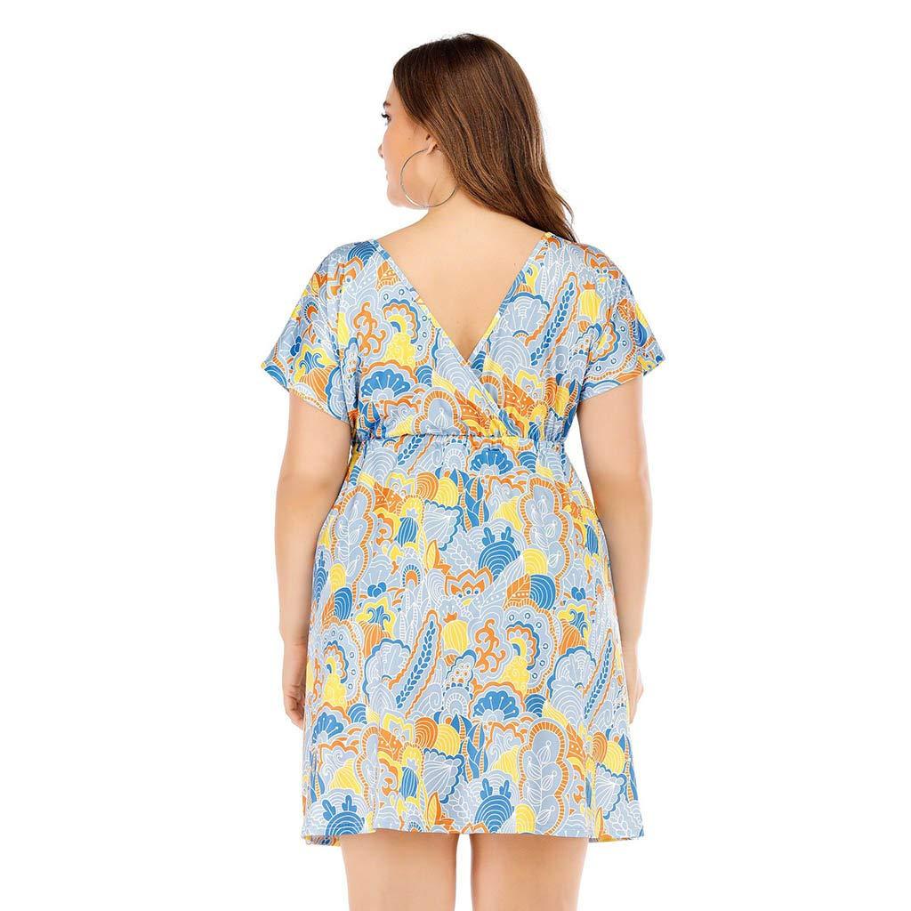 KASAAS Womens Vintage Dresses Plus Size XL-5XL Retro Print O-Neck Short Sleeve Tunic Top Side Pocket Casual Mini Dress