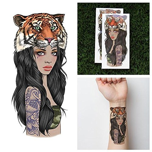 Tattify Tiger Headdress Temporary Tattoo - Tigress (Set of 2) - Other Styles Available - Fashionable Temporary Tattoos - Long Lasting and Waterproof
