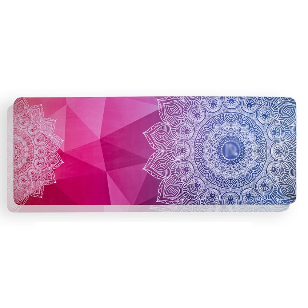 Yoga Mat Suede Printed Beginner Non-Slip Portable Fitness Blanket Anti-Sweat Pink, Purple, Blue 5mm Thick (Color : Purple)