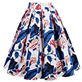 Dressever Women's Vintage A-line Printed Pleated Flared Midi Skirts Blue Leaves Medium