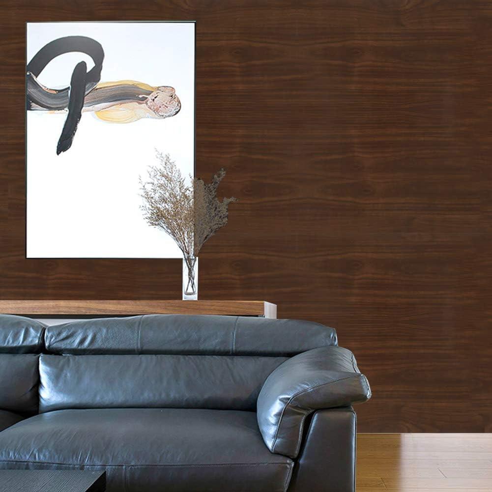 Papel Pintado de Madera Negro-Marr/ón Papel Pintado Autoadhesivo de Grano de Madera Papel Pintado Autoadhesivo Papel de Contacto Decorativo Impermeable F/ácilmente Extra/íble 44 500cm