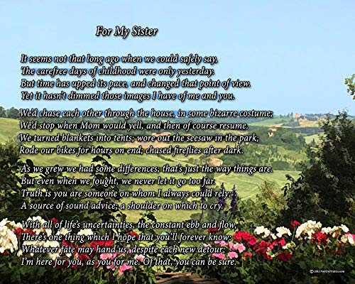 For My Sister - Poem Print (8x10) - Beautiful Sister Gift for Any Occasion