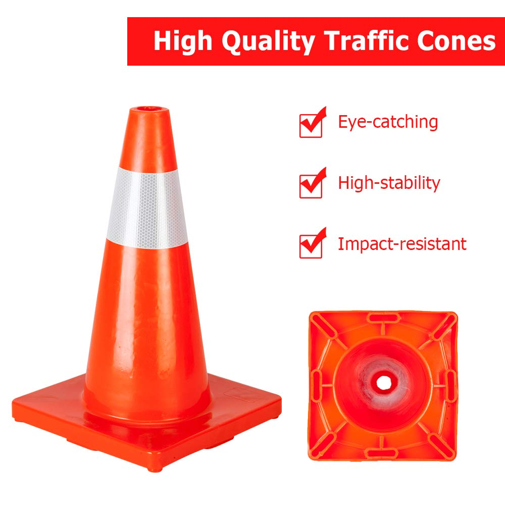 ROVSUN 10Pcs Safety Traffic Cones, 18'' Orange Slim Fluorescent Reflective Collars, Road Parking Field Marker Cones for Outdoor Activity & Festive Events Multipurpose by ROVSUN (Image #3)