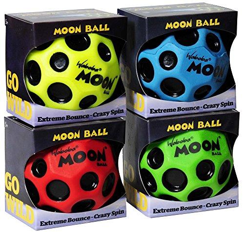 Waboba MOON Extreme Bounce Bundle of 4 Balls _ in 4 Neon Colors _ BONUS Soft Nylon Net Drawstring 9 x 12'' Royal Blue Carry Bag by Waboba (Image #1)
