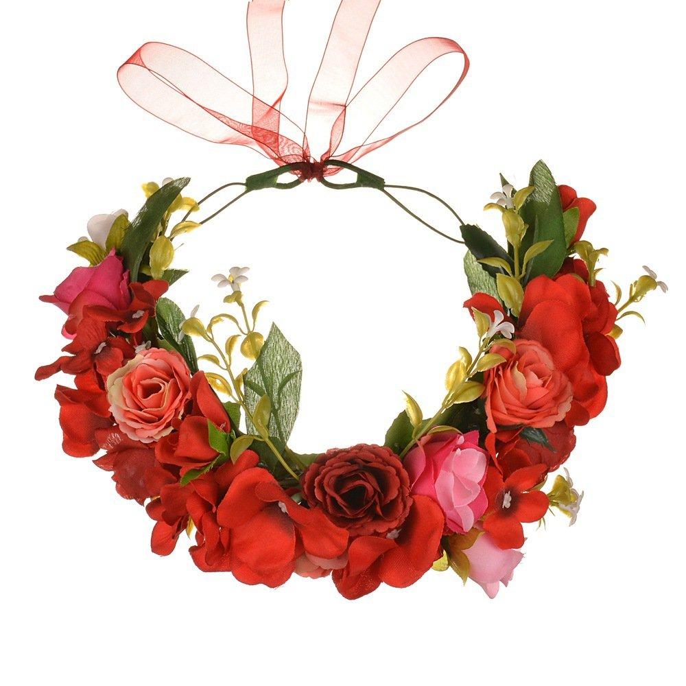 YGSAT Fiore Ghirlanda Archetto Fiore Fascia Bande Sposa Accessori Capelli per Festa di Nozze di Donna,Nastro Regolabile