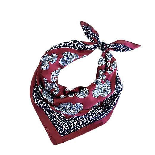 Qinlee Bandana cuello Vintage cuadrado pequeño bufanda satén de ...